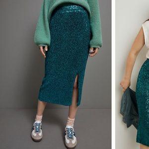 Anthropologie Maeve Alicia Sequinned  Skirt XXSP
